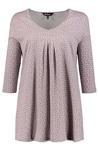 Ulla Popken Damen Minimalprint, 3/4 Arm, A-Linie T-Shirt, Grau (Anthrazit 12), (Herstellergröße: 42+)
