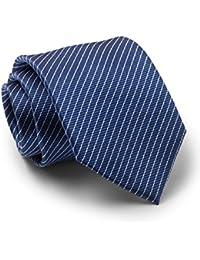 Savile Row Men's Navy White Pinstripe Silk Tie