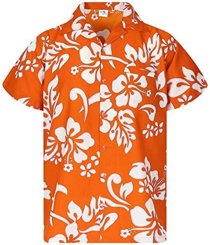 King Kameha Funky Hawaiihemd, Kurzarm, Hibiskus New, Orange, M