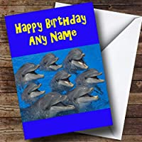 Funny Smiling Dolphins Personalised Birthday Card