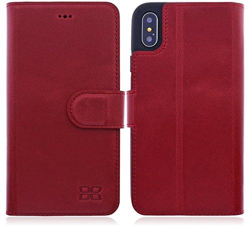 Bouletta Apple iPhone X Hülle Leder Handyhülle | Lederhülle | Tasche | Ledertasche | Handytasche | Schutzhülle | Book Cover | Case | bruchfeste Innenschale | Kartenfach | QI-Ladung (Antik Rot)