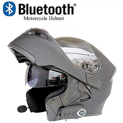Moto Casco Bluetooth Casco Anti-Collisione Casco Modulare D.O.T Certificazione Flip Frontale Anti-Fog Doppio Specchio Risposta Automatica Bluetooth Musica (M, L, XL, XXL),Matteblack,L59CM~60CM