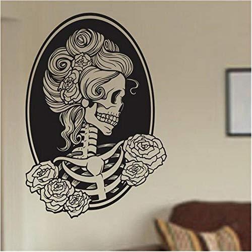Wandaufkleber Klassische Frau Schädel Wand Vinyl Applique Aufkleber Kunst Grafik Aufkleber Zucker Schädel Wandaufkleber Halloween Home Decor