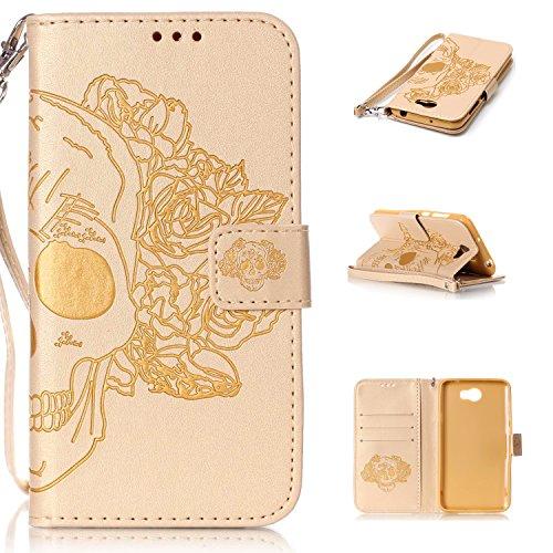 Leather Case Cover Custodia per Huawei Y5 II / Y5 2 ,Ecoway Caso / copertura / telefono / involucro del modello PU con a Bookstyle tasche carte di credito funzione con interno morbido in TPU Portafoglio Supporto Slot Schede Protettiva Bumper Caso - cranio(d'oro)