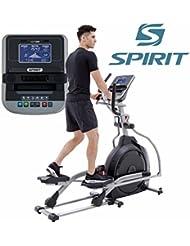 Spirit Elliptical XE 195 - Bicicleta elíptica, Cross Trainer con sensores de pulso de mano, ergómetro, cardio fitness