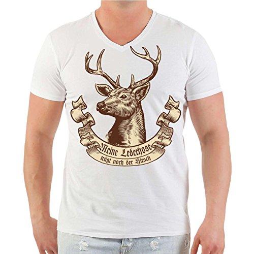 Männer und Herren T-Shirt Meine Lederhose trägt noch der Hirsch Größe S - 8XL V-Neck weiß