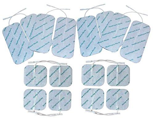 TENS / EMS Elektroden vorverdrahtet mit hochwertigem selbstklebendem Gel Combo Pack 8 quadratisch 5x5xcm und 8 groß 5x10cm Healthcare World (Combo-gerät)