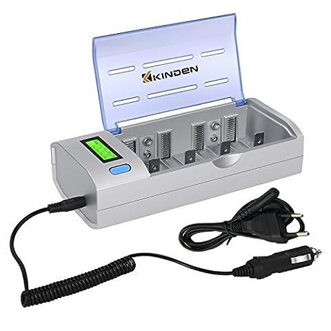 KINDEN Chargeur Universel De Batterie Ménage Rapide Batteries Chargeur AA AA C D 9V Ni-MH Ni-CD Piles Rechargeables Avec Écran LCD Et Fonctions De Décharge