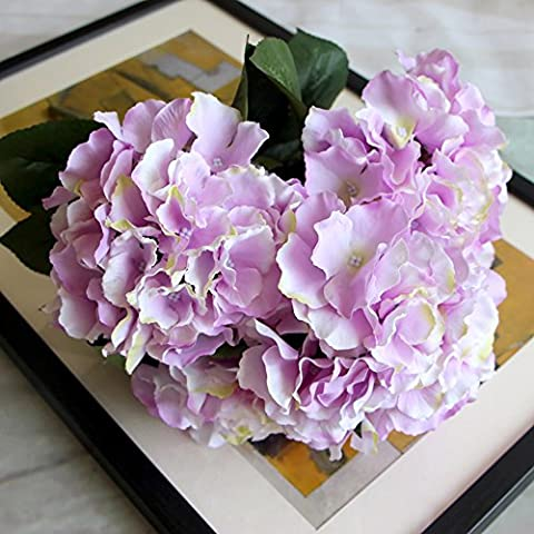 Pack of 2 Mallorca Large Hydrangea with 5 Heads Artificial Silk Flowers Bouquet for Wedding Home Desk Decor