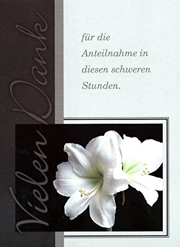 15 Danksagungskarten Trauerkarten mit Umschlägen Motiv Lilie Trauerkarte Trauer Danke (K56)
