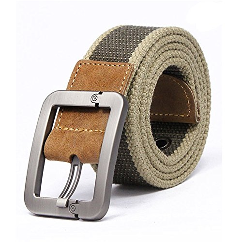 Forepin® Uomo Canvas Web di Svago Della Cinghia Stitch Cintura Regolabile Cintura con Fibbia Kirsite e 9 Buche Cintura in Tessuto Cintura a Vita 2.7-3.1 Piedi (Khaki