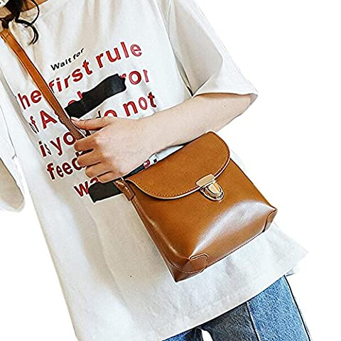 Frauen Freizeit Schultertasche, Xjp Handtasche Leder Crossbody Tasche Messenger Bag Münze Tasche (Brown Leather Messenger Bag)