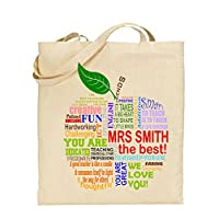 Danni Rose Personalised Teacher Shopper Shoulder Bag,Colourful Apple End of Term Gifts, Fun Teaching Presents