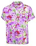 King Kameha Funky Hawaiihemd, Kurzarm, Flamingos, Violett, XL