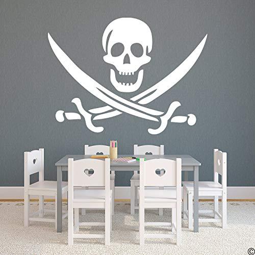 CLIFFBENNETT Jolly Roger K009-W Wandtattoo aus Vinyl, Motiv Pirat mit Totenkopf und Schwertern -