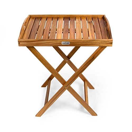 Rustler Beistelltisch mit Tablett in braun | Klapptisch aus Holz | 42,5 x 60 x 73 cm | Tabletttisch geeignet für Garten, Balkon und Terrasse
