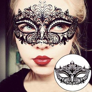 Eqlef® sexy maschera veneziana black metal con white party strass travestimento di halloween cosplay