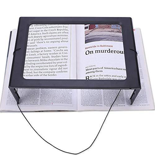 Ganzseiten-Vergrößerungsglas 3X 12 LED-Leuchten Leselupe Hände frei faltbare rechteckige Halskordel Desktop mit Taschenlupe Glas tragbar für ältere Menschen und Sehbehinderte -