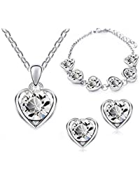 Ruvee Heart Of The Ocean White Swarovski Crystals Necklace Set For Women & Girls For Parties & Weddings