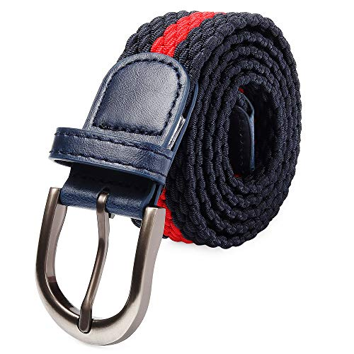 3d7ae426bfc Braided Stretch Elastic Belt with Pin Oval Satin Brushed Buckle Leather  Loop End Tip with Men