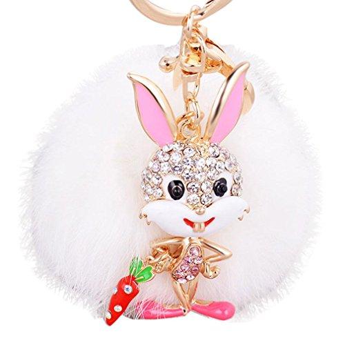 Hevoiok Hase Plüsch Ball Schlüsselanhänger Weich Keychain Handtaschen Anhänger Auto Ornamente Dekor (Weiß)
