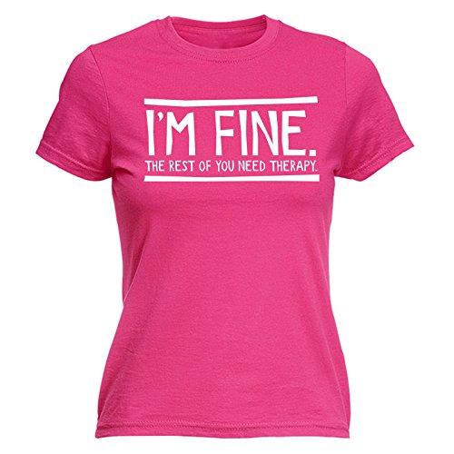 123t Slogans - T-shirt - Slogan - Manches Courtes - Femme rose vif