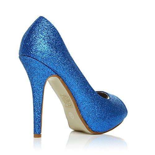 806319b72d2cd1 ... Chaussures Décolleté Bleu Pailleté Tia Avec Talon Aiguille Très Haut  Ouvert Et Plateforme À Paillettes Bleues ...
