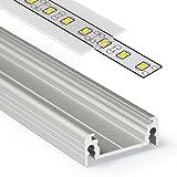 2m Aluprofil SURFACE14 (SU14) 2 Meter Aluminium Profil-Leiste eloxiert für LED Streifen - Set inkl Abdeckung-Schiene durchsichtig-klar mit Montage-Klammern und Endkappen (2 Meter transparent slide)