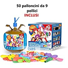 Bombona de helio desechable, 50globos multicolor incluidos