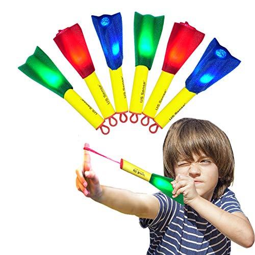 iVENUS Toys Schaum Finger Rocket 6-Pack LED Gummiband Flying Foam Slingshot Rockets-Fun Shooting Fliegen Spiele für Outdoor Fun Camping Party Geschenk