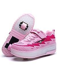 Unisex Niños LED Luz Flash Zapatos de Roller con USB Recargable Automática Ruedas Patines Al Aire Libre Gimnasia Zapatillas de Skateboard…