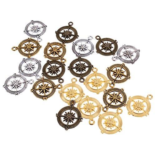 Homyl 20 Stück Mehrfarbig Anhänger Kompass form Charms DIY Basteln DIY Handwerk Schmuckherstellung