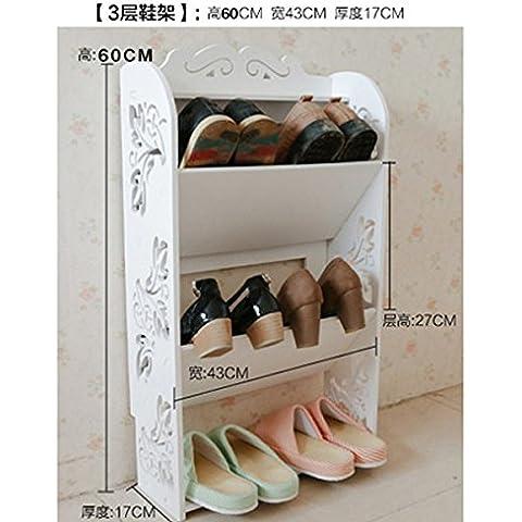 Europeo - estilo de bastidores de zapatos simples estantes salón dormitorio baño Estantes estantes piso