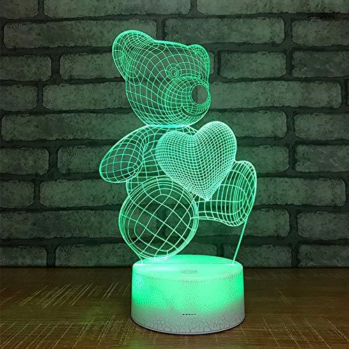 LXHLXN 3D Nachtlichter Pet Bears Und Love Cute 7 Farbe Nachtlichter Halloween Kinderspielzeug Urlaub USB Led-Leuchten (Für Halloween Pet-farbe)