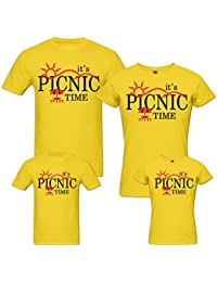 PepperClub Picnic Time Family Tshirt - Set of 4 For Mom Dad and Kids