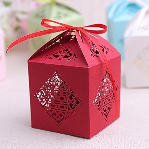 XHDWNBM 20 Pcs Zucchero di nozze il vassoio della cartuccia piccola confezione regalo di nozze scatola regalo Hei Hei Sugar sacchetto scatola regalo di Natale Box , Medio , 19 rosso