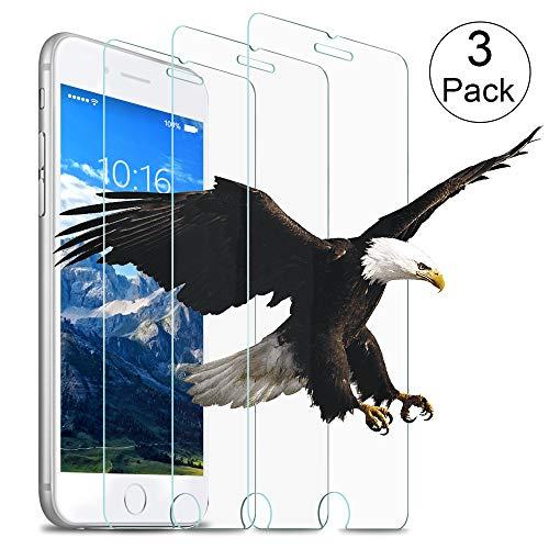 wsky Panzerglasfolie Schutzfolie Kompatibel iPhone 7 Plus/8 Plus, [3 Stück] 9H Härte Transparent Bildschirmschutzfolie, HD Anti-Kratzen, 3D Touch Folie Kompatibel iPhone 7 Plus/8 Plus