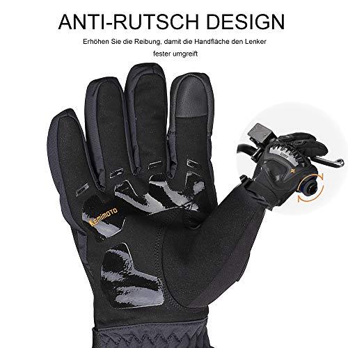 Motorrad Handschuhe Winter Warm Handschuhe Touch Screen Wasserdicht Winddicht Sporthandschuhe ( XL,Schwarz) - 6