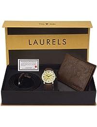 Laurels Analogue Men's Watch Wallet and Belt Combo