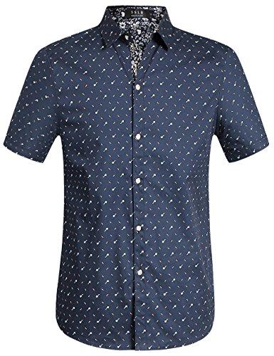 SSLR Herren Druck Regular Fit Kurzarm Button Down Hemd (Medium, Rust Indigo)