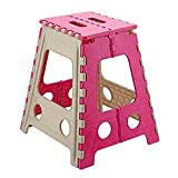#7: Primelife Plastic Folding Stool, Pink and White 18 Inch stool