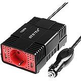 BESTEK Inversor de Corriente 150W Convertidor 12V CC a 220V AC. Adaptador /Cargador de Energía con Dos 4.8A Puertos USB y Un Enchufe
