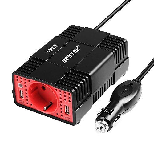 BESTEK Transformateur 12V 220V Convertisseur Onduleur 150W Silencieux Chargeur Double USB Ports Voiture Allume Cigare - Prise EU