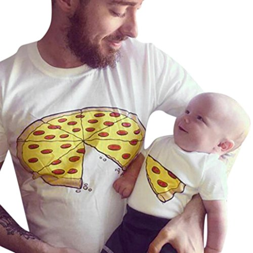 QinMM Familie Kleidung Mann Baby Kinder Vater Kurzarm Pizza Print T-Shirt Bluse Kleidung (18M, Baby)