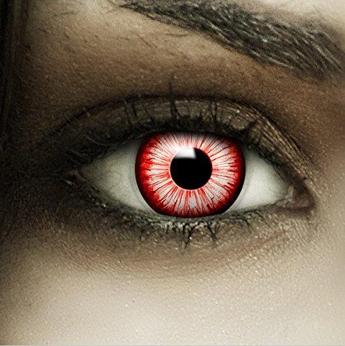 Farbige rot weiß schwarze Kontaktlinsen Walking Zombie + Kunstblut Kapseln + Behälter von FXCONTACTS®, weich, ohne Stärke als 2er Pack - perfekt zu Halloween, Karneval, Fasching oder Fasnacht