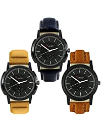 Talgo 2017 New Collection Foxter (combo Of 3) Black Round Shapped Dial Leather Strap Fashion Wrist Watch For Boys...