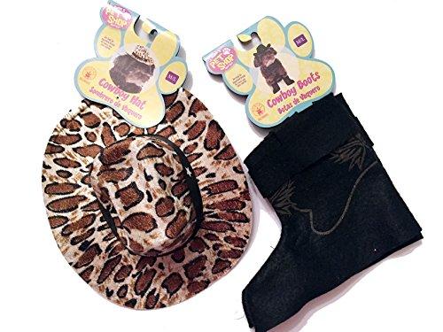 ür Hunde/Welpen inkl. Leopard Cowboy Hut und Stiefel Cuff Set ()