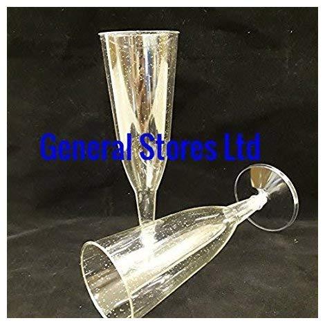 50 Doré Paillettes Plastique Transparent fête flûtes à champagne – fabriqué au Royaume-Uni – Fête de Noël (2)