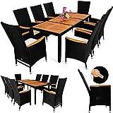 Meubles De Jardin Best Deals - Ensemble de meubles de jardin 17pcs - Bois d'acacia - chaises inclinables