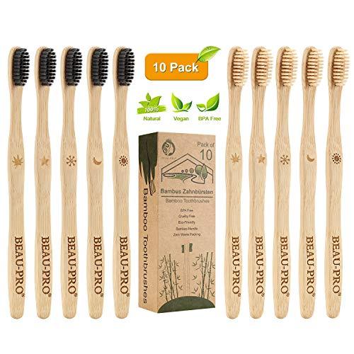 Cepillo Dientes Bambu, Paquete de 10 Cepillos de Dientes, 5 cepillo de carbón bambú y 5 cepillo de fibra bambú, 100{8ec319593d598abbf83703eaa77cd8928f1412365baf2396b19a22d493c337d5} Libre de BPA, Cepillos de Dientes Naturales y Veganos para Una Mejor Limpieza